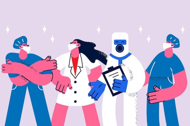 Artsen in maskers tijdens covid epidemisch concept