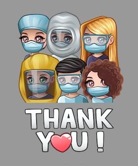 Artsen in medische maskers en tekst bedankt