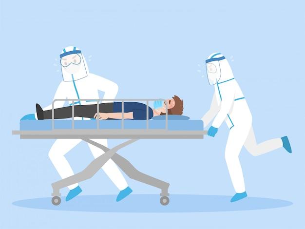 Artsen in persoonlijk beschermingspak beweeg serieus patiënt liggend op een brancard