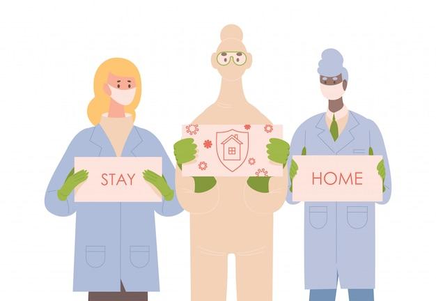 Artsen in uniforme, beschermende pakken en medische maskers houden borden met woorden thuis vlakke afbeelding blijven.