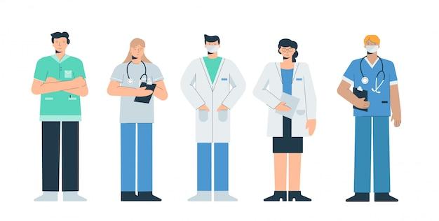 Artsen in werkende uniformen instellen. artsen vrezen met coronovirus.