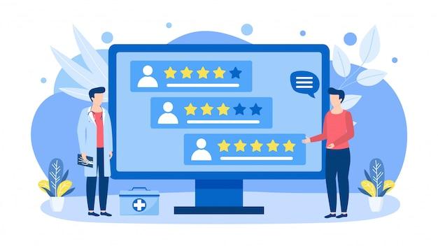 Artsen keuze door waardering, score, beoordelingen illustratie concept geïsoleerde banner.