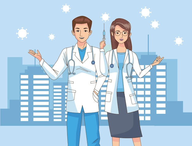 Artsen koppelen karakters met vaccinspuit op de stadsillustratie