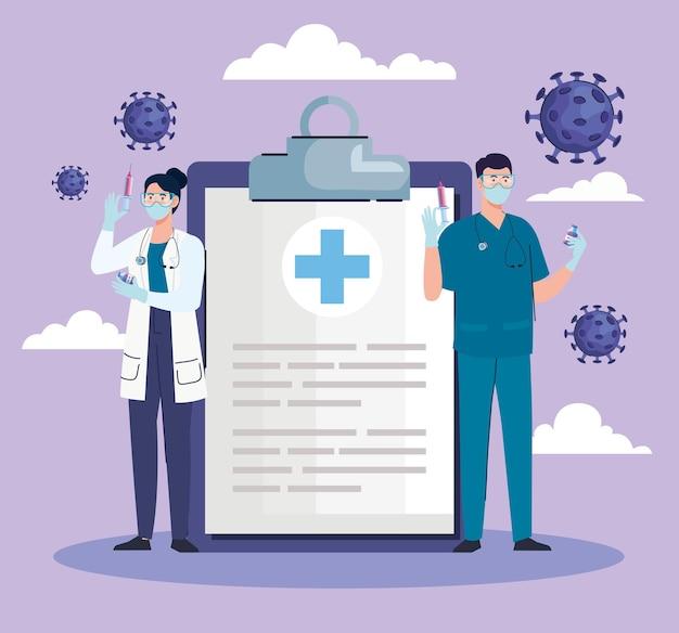 Artsen koppelen met vaccin en checklist covid19 scène