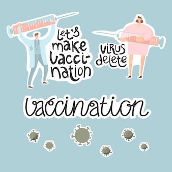 Artsen maken vaccin met een spuit vecht met virus vaccinatie vectorillustratie