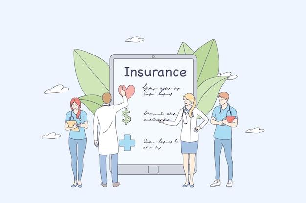 Artsen medische werknemer stripfiguren staan in de buurt van de contactpersoon van de ziektekostenverzekering op smartphonescherm invullen van medisch document formulier concept