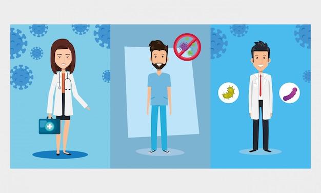 Artsen met paramedicus en deeltjes covid 19 illustratie