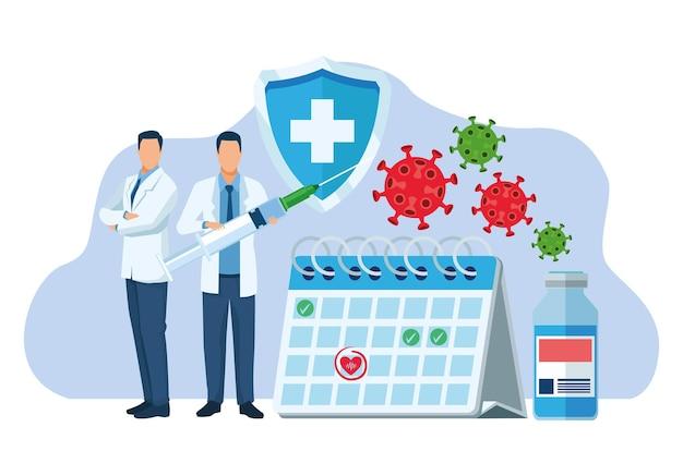 Artsen met vaccin en deeltjesillustratie