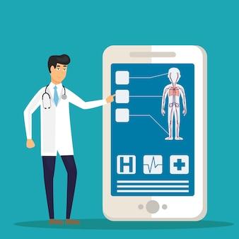 Artsen onderzoeken een patiënt met behulp van een medische app op een smartphone, online medische raadpleging en technologie concept