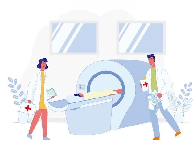 Artsen, patiënt en bekken skelet sectie mri