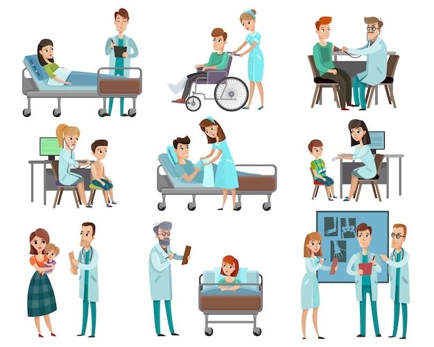 Artsen patiënten tekenset