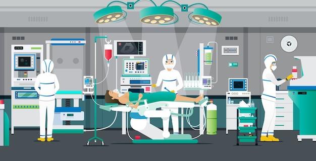 Artsen plaatsen pbm-sets om patiënten in onderdrukkamers te behandelen.