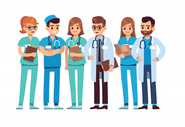 Artsen stellen. medisch personeel team arts verpleegster therapeut chirurg professionele ziekenhuismedewerkers groep dokter, vector stripfiguren