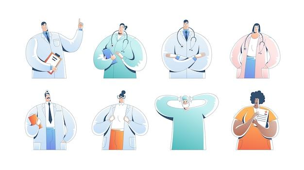Artsen team. medisch personeel arts verpleegkundige therapeut chirurg professionele ziekenhuispersoneel.