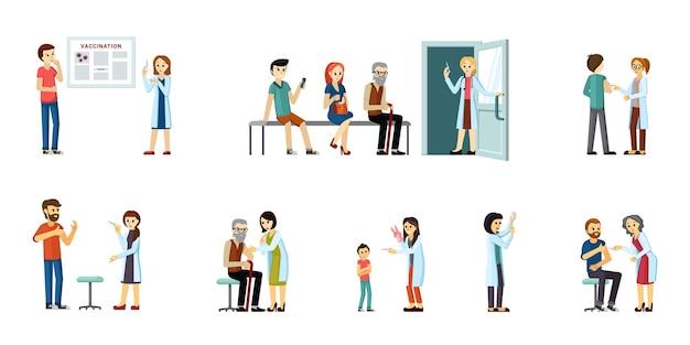 Artsen vaccineren mensen set. preventie van infectiekarakters hebben profylactische injectie tegen coronavirusimmunisatie van de bevolking tijdens pandemische immunoprotectie. vector platte bescherming.