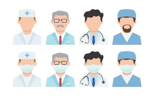Artsen vector pictogram. desinfectie. gezichtsmaskers, medisch personeel. virus bescherming. illustratie van de gezondheidszorg Premium Vector