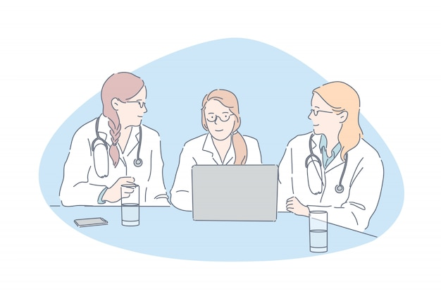 Artsen vergadering, ziekenhuispersoneel, kliniek personeel concept