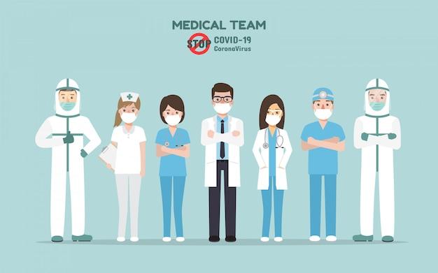 Artsen, verpleegkundigen en medisch personeel, medisch team, vechten samen voor de pandemie van het corona-virus en de verspreiding van covid-19. coronavirus ziektebewustzijn. Premium Vector
