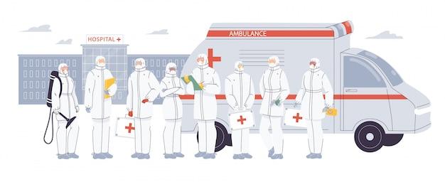 Artsen verpleegster team dragen ppe uniform op de werf