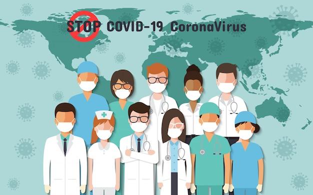 Artsen, verpleegsters en mensen over de hele wereld die gezichtsmaskers dragen, strijdend voor coronavirus, covid-19 op de wereldkaart.