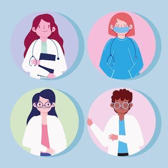 Artsen vrouwen en man met beschermende pakken set