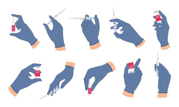 Artsenhanden met vaccin. verpleegkundige hand in medische handschoenen houdt spuit en ampul met medicijnen vast. griep of covid vaccinatie concept vector set. flacon of flesje voor gezondheidsinjectie in laboratorium