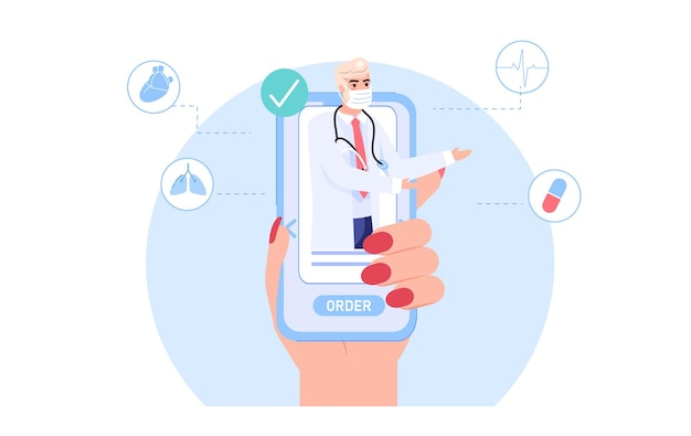 Artsenkarakter in gezichtsmasker biedt medicijnen van app op mobiel scherm