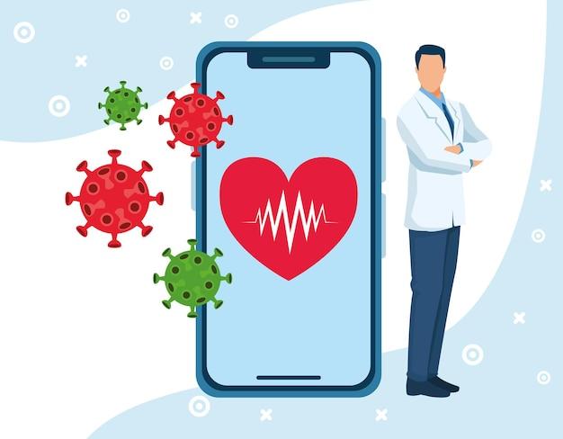 Artsenkarakter met illustratie van smartphone en deeltjes