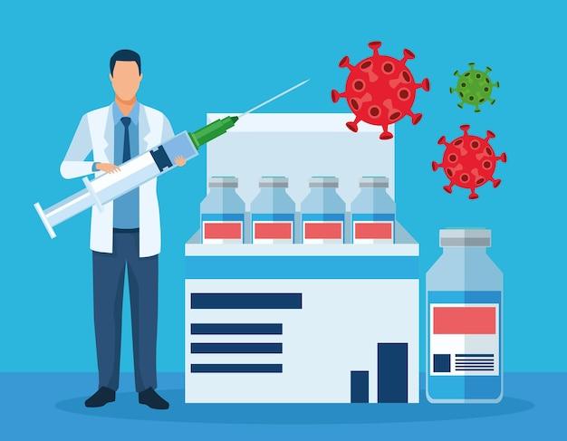 Artsenkarakter met illustratie van vaccin en deeltjes