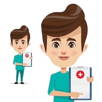 Artsenmens met medisch certificaat voor handtekening