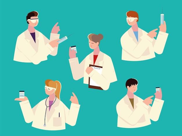 Artsenpersoneel houdt spuit, vaccin vast om coronavirusillustratie te bestrijden