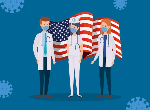 Artsenpersoneel met amerikaanse vlag en covid19-deeltjes