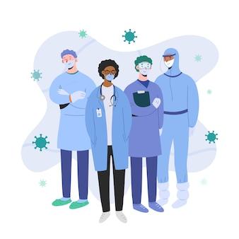 Artsenteam dat bescherming draagt tegen coronavirus