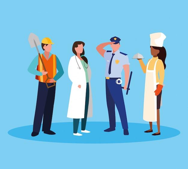 Artsenvrouw met groep beroeps