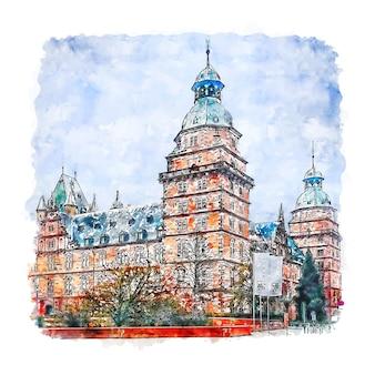 Aschaffenburg duitsland aquarel schets hand getrokken illustratie