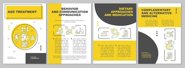 Asd behandeling brochure sjabloon. gedragsstoornis. flyer, boekje, folder afdrukken, omslagontwerp met lineaire pictogrammen. vectorlay-outs voor presentatie, jaarverslagen, advertentiepagina's
