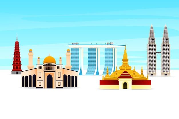 Asean gebouwen illustratie