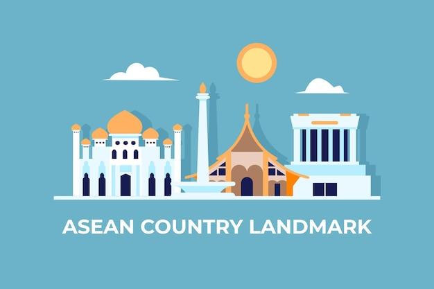 Asean-gebouwen uit verschillende landen