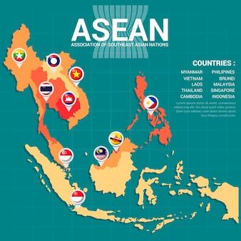 Asean-kaart op blauwe achtergrond