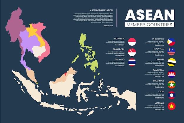 Asean-kaart op witte achtergrond