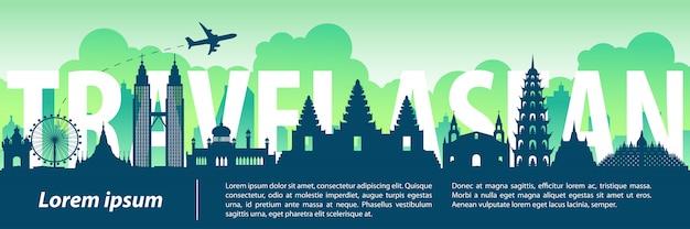 Asean top beroemde landmarks silhouetstijl