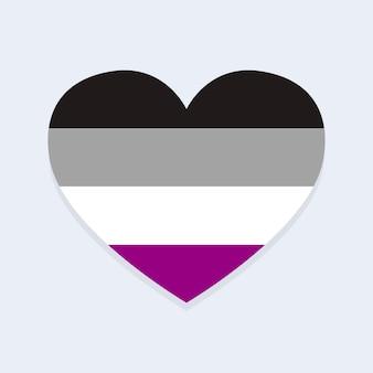 Aseksuele vlag in hartvorm
