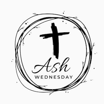 Ash woensdag belettering met zwart kruis