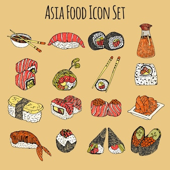 Asia food icon set colored