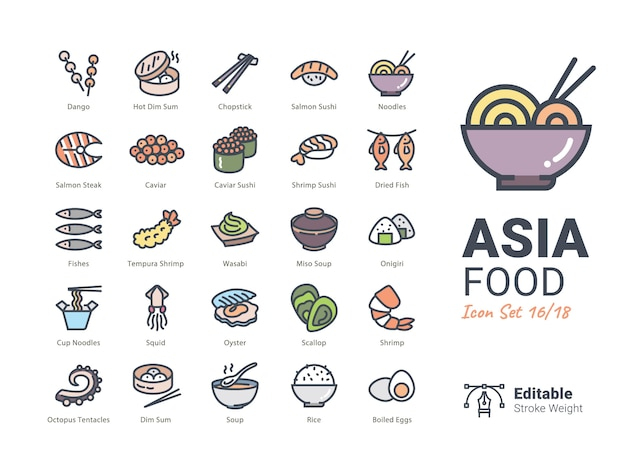 Asia food vector iconen collectie