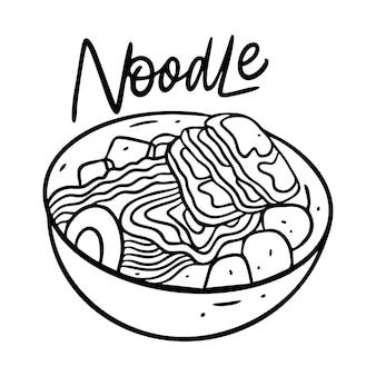 Asia noodle in diepe kom illustratie