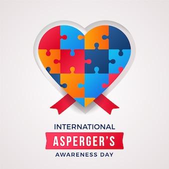 Asperger's bewustwordingsdag platte ontwerp hart puzzel