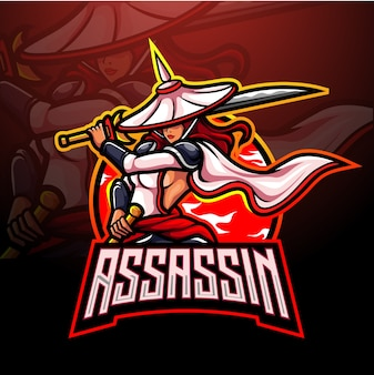Assassin esport logo mascotte ontwerp