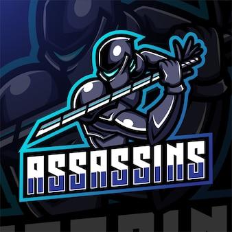 Assassin esport mascotte logo ontwerp
