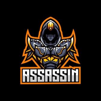 Assassin gaming karakter schaduw mascotte